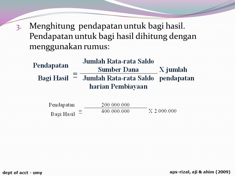 Menghitung pendapatan untuk bagi hasil