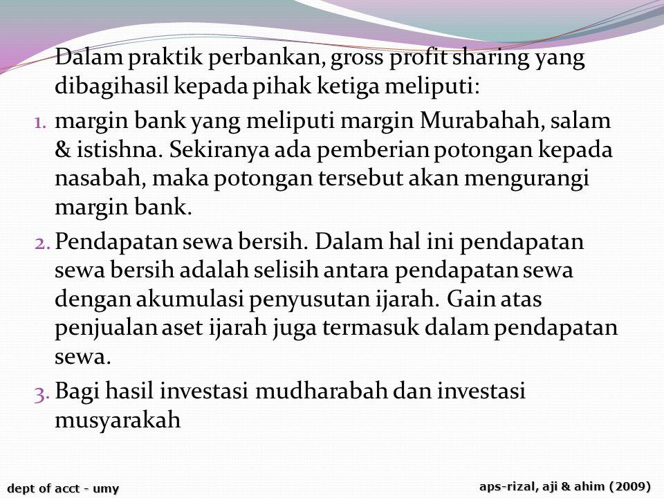 Dalam praktik perbankan, gross profit sharing yang dibagihasil kepada pihak ketiga meliputi: