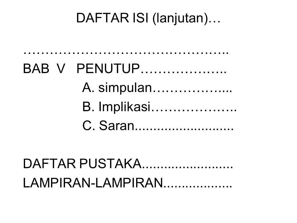 DAFTAR ISI (lanjutan)…