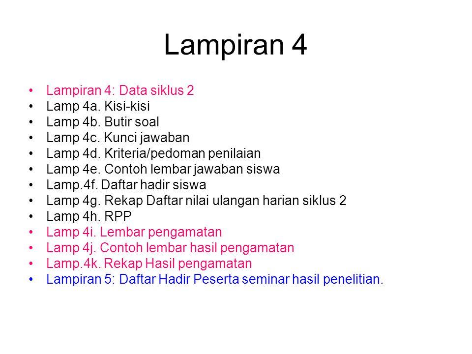 Lampiran 4 Lampiran 4: Data siklus 2 Lamp 4a. Kisi-kisi