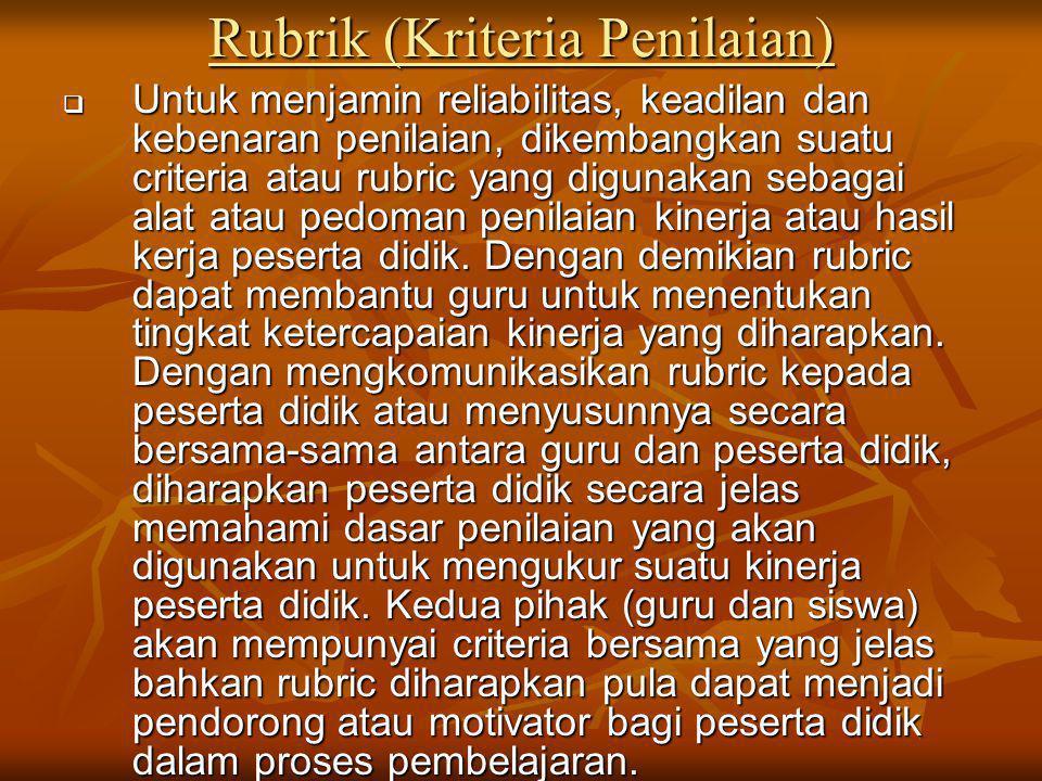 Rubrik (Kriteria Penilaian)