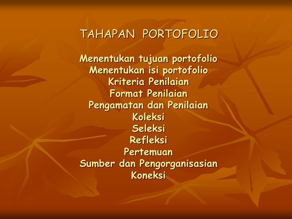 TAHAPAN PORTOFOLIO Menentukan tujuan portofolio Menentukan isi portofolio Kriteria Penilaian Format Penilaian Pengamatan dan Penilaian Koleksi Seleksi Refleksi Pertemuan Sumber dan Pengorganisasian Koneksi
