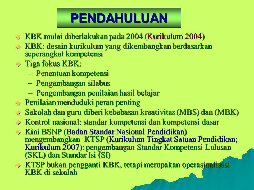 PENDAHULUAN KBK mulai diberlakukan pada 2004 (Kurikulum 2004)
