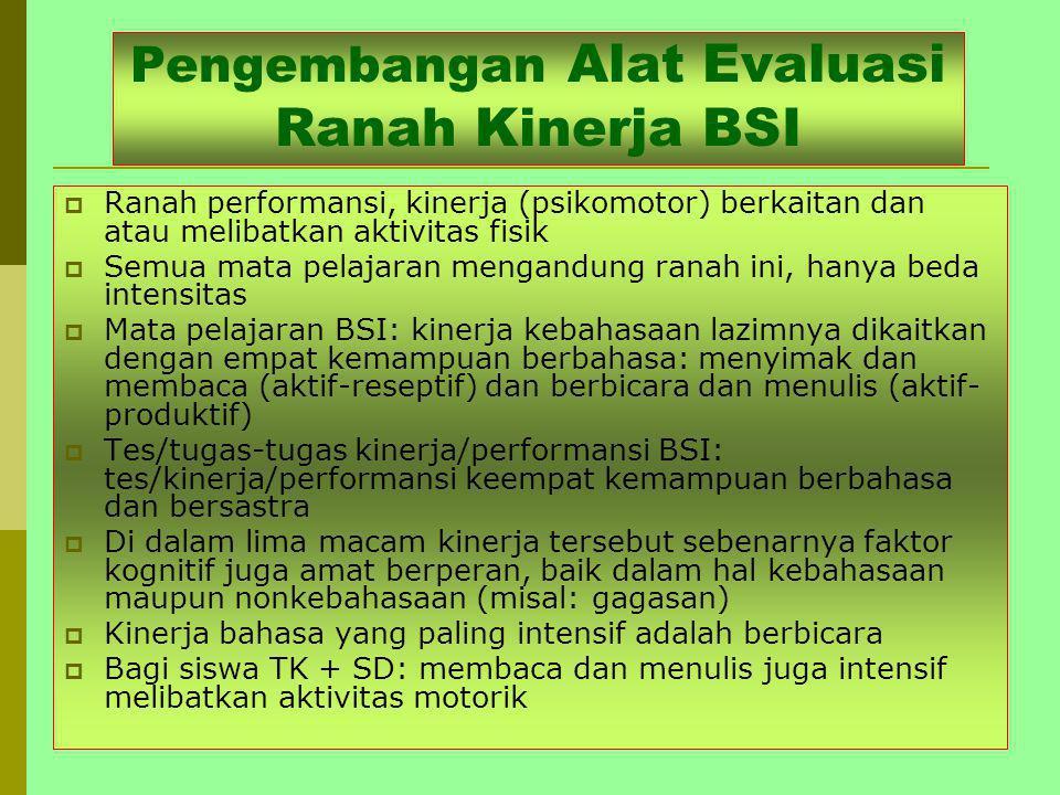 Pengembangan Alat Evaluasi Ranah Kinerja BSI