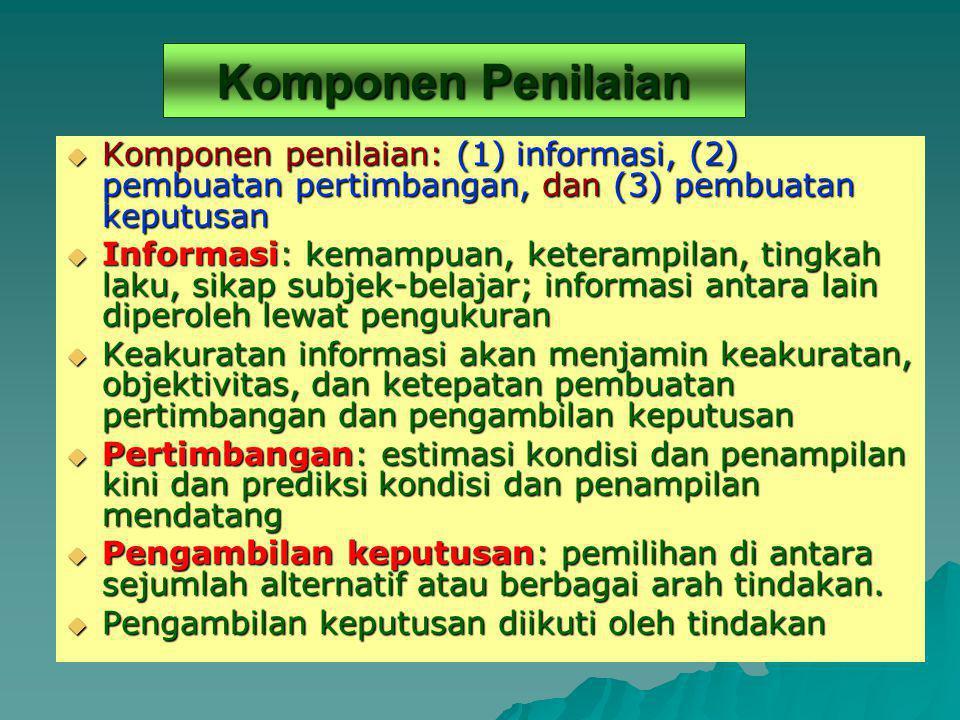 Komponen Penilaian Komponen penilaian: (1) informasi, (2) pembuatan pertimbangan, dan (3) pembuatan keputusan.