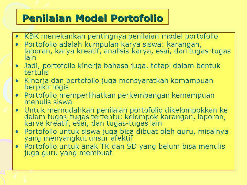 Penilaian Model Portofolio