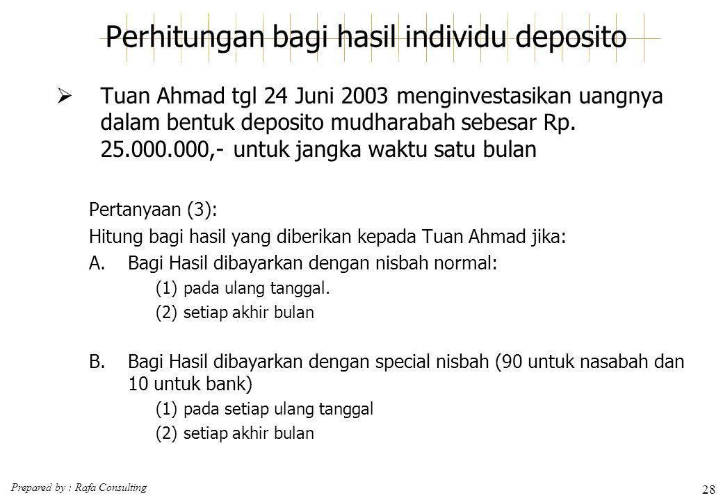 Perhitungan bagi hasil individu deposito