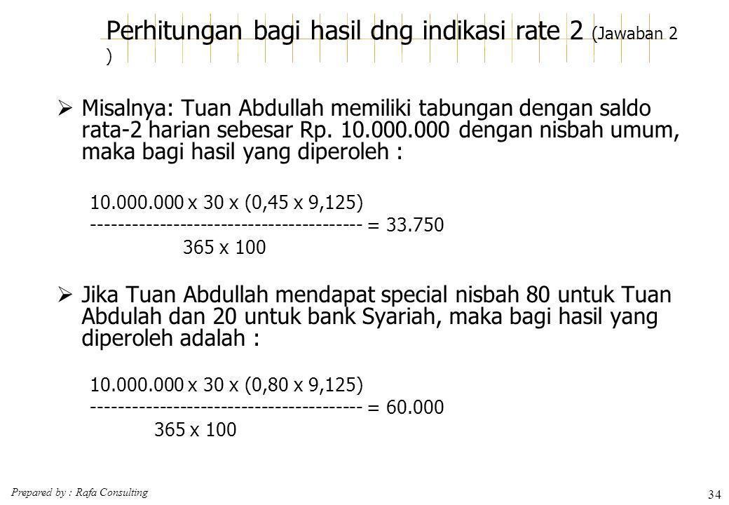Perhitungan bagi hasil dng indikasi rate 2 (Jawaban 2 )