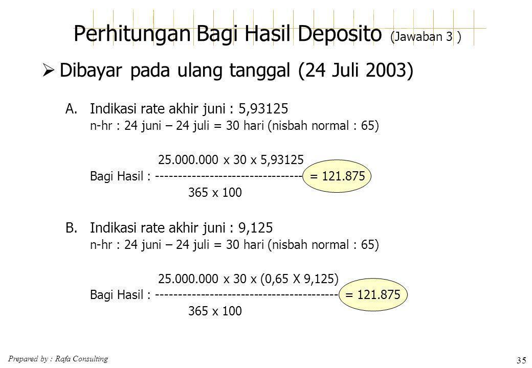 Perhitungan Bagi Hasil Deposito (Jawaban 3 )