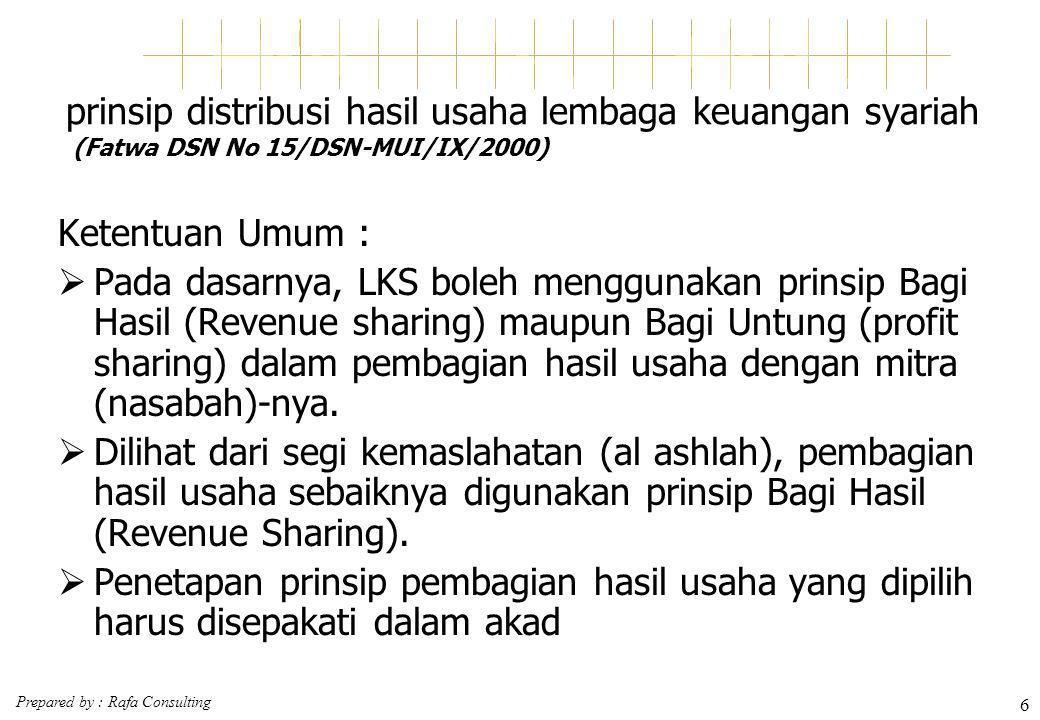 prinsip distribusi hasil usaha lembaga keuangan syariah (Fatwa DSN No 15/DSN-MUI/IX/2000)