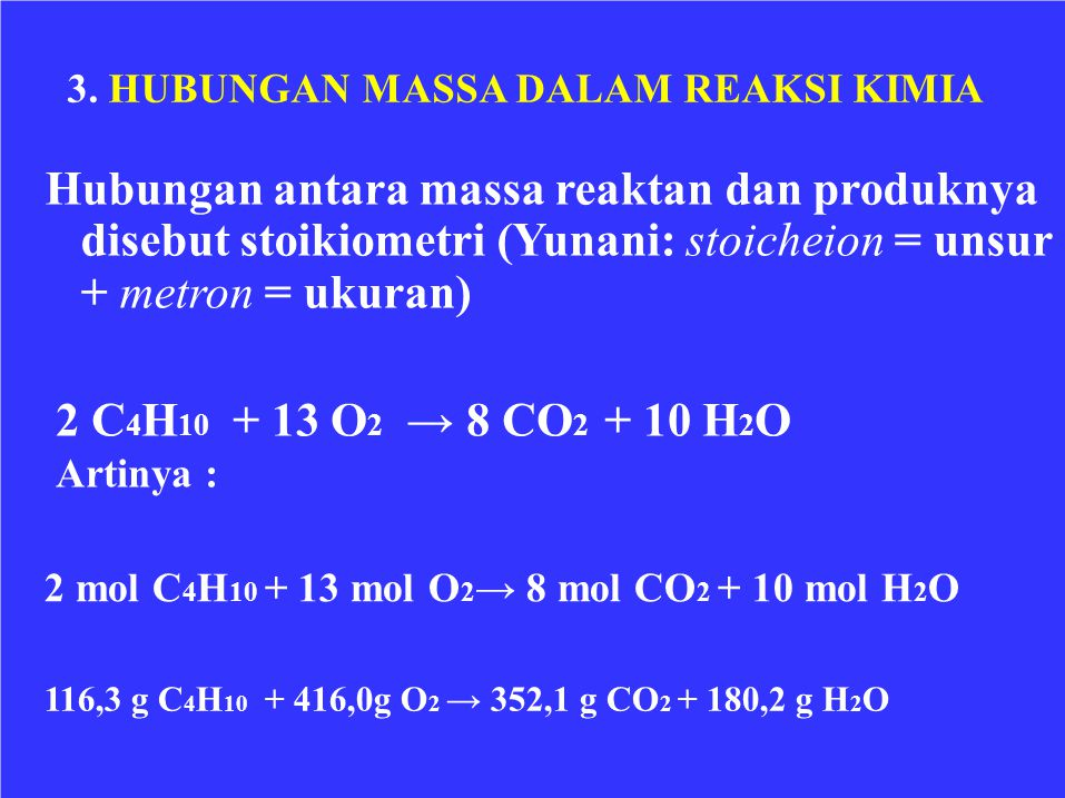Hubungan antara massa reaktan dan produknya