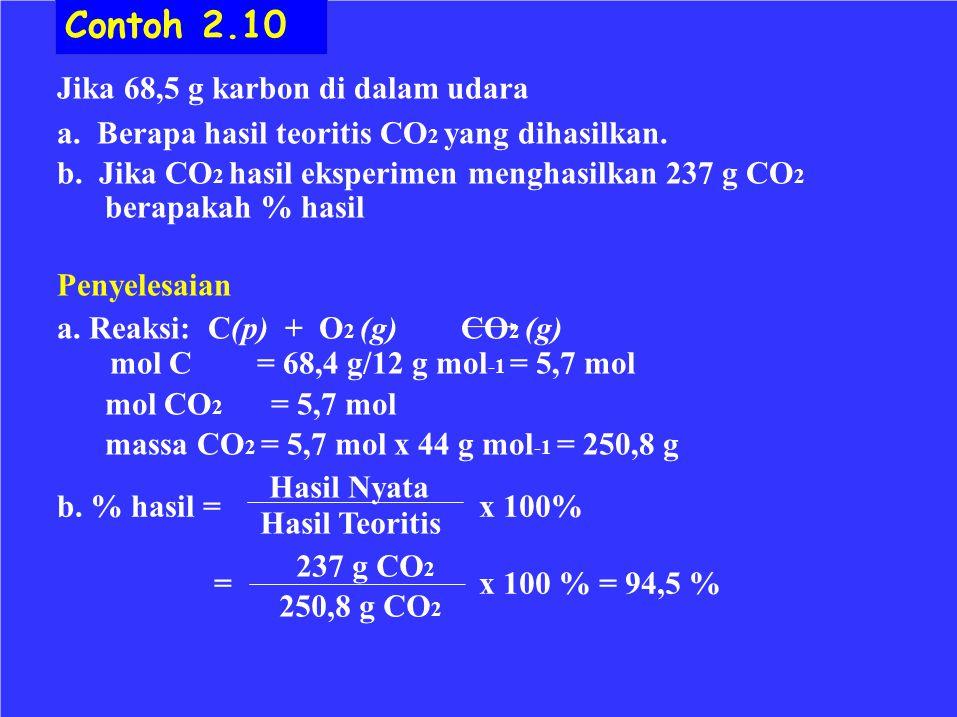 Jika 68,5 g karbon di dalam udara