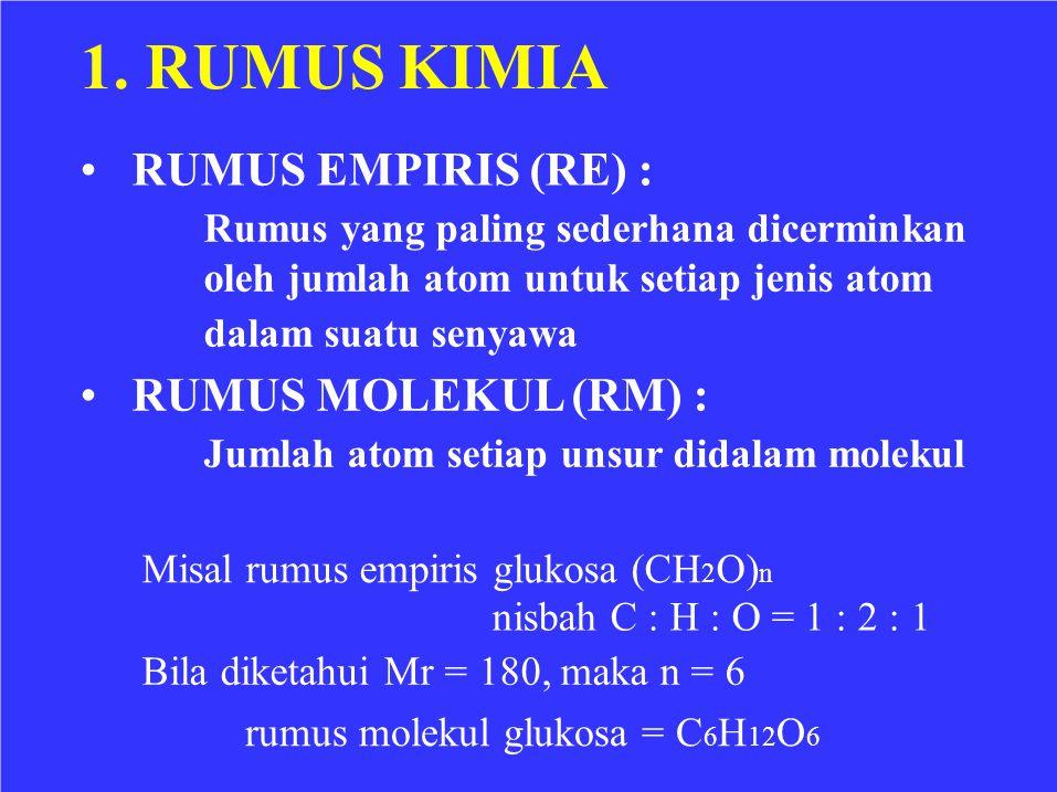 1. RUMUS KIMIA • RUMUS EMPIRIS (RE) : • RUMUS MOLEKUL (RM) :