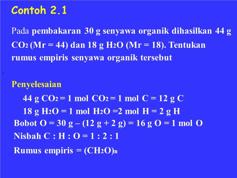 Contoh 2.1 Pada pembakaran 30 g senyawa organik dihasilkan 44 g