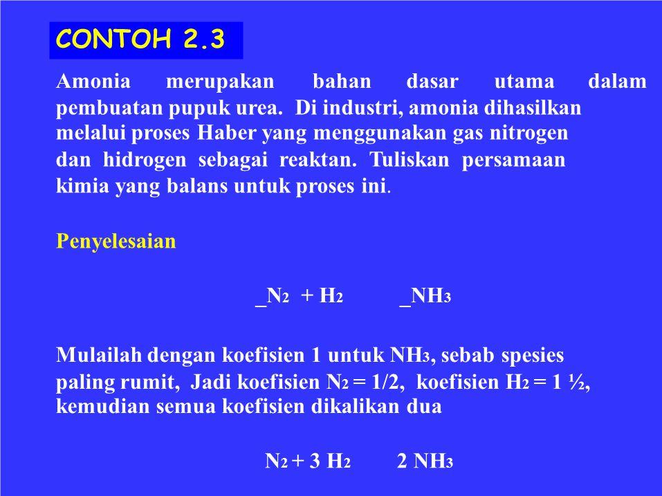 CONTOH 2.3 Amonia merupakan bahan dasar utama dalam