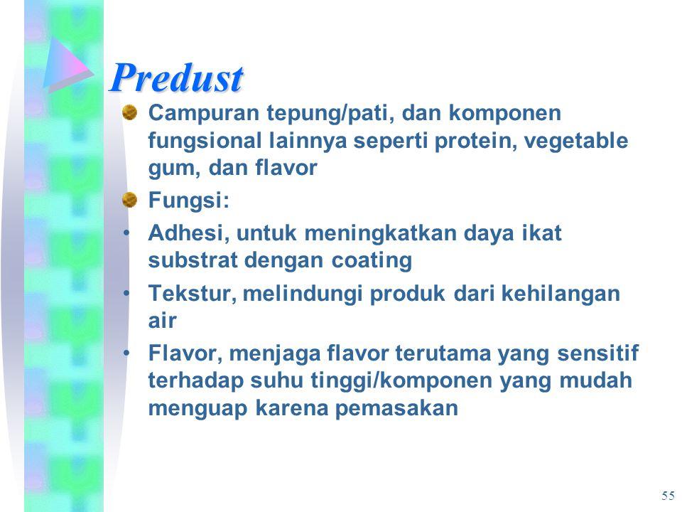 Predust Campuran tepung/pati, dan komponen fungsional lainnya seperti protein, vegetable gum, dan flavor.