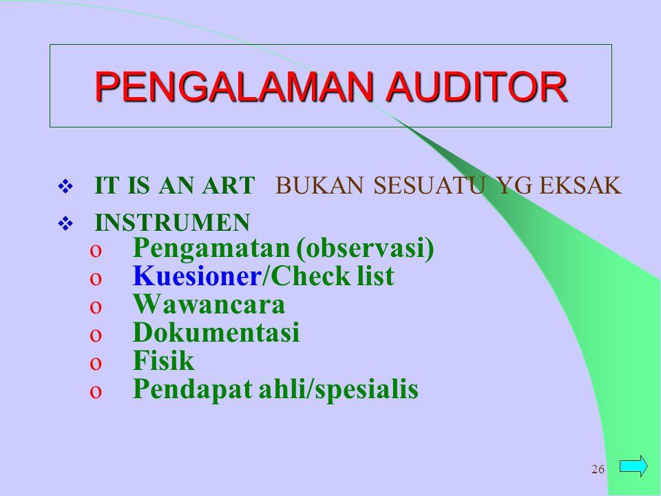 PENGALAMAN AUDITOR Pengamatan (observasi) Kuesioner/Check list
