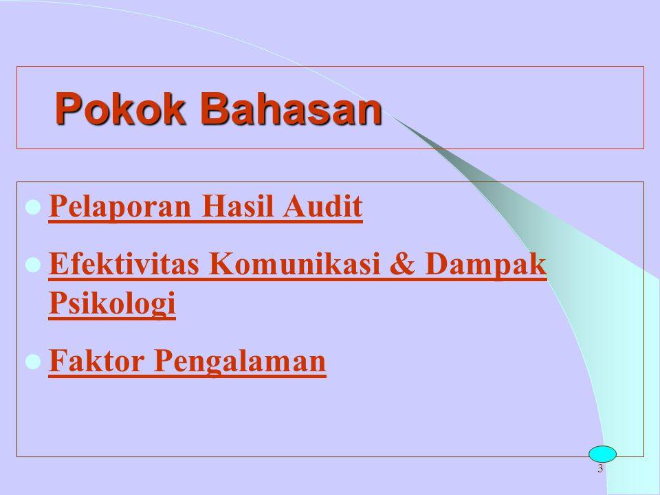 Pokok Bahasan Pelaporan Hasil Audit
