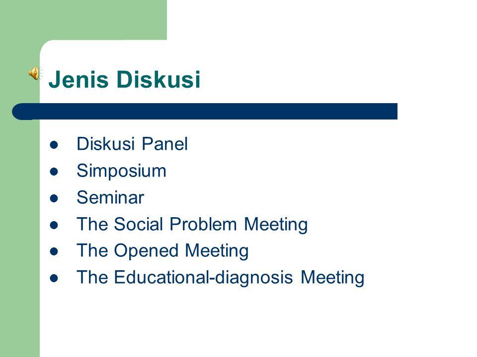 Jenis Diskusi Diskusi Panel Simposium Seminar