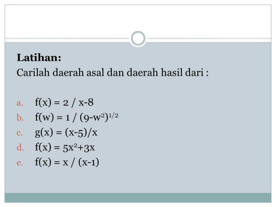 Latihan: Carilah daerah asal dan daerah hasil dari : f(x) = 2 / x-8. f(w) = 1 / (9-w2)1/2. g(x) = (x-5)/x.