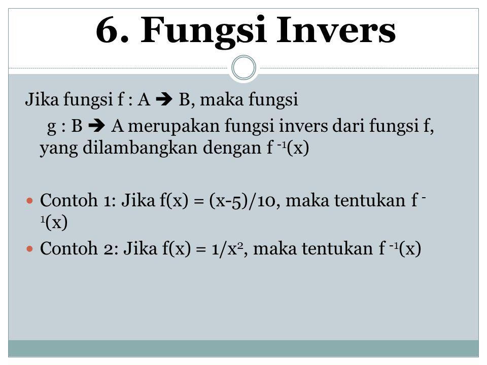 6. Fungsi Invers Jika fungsi f : A  B, maka fungsi