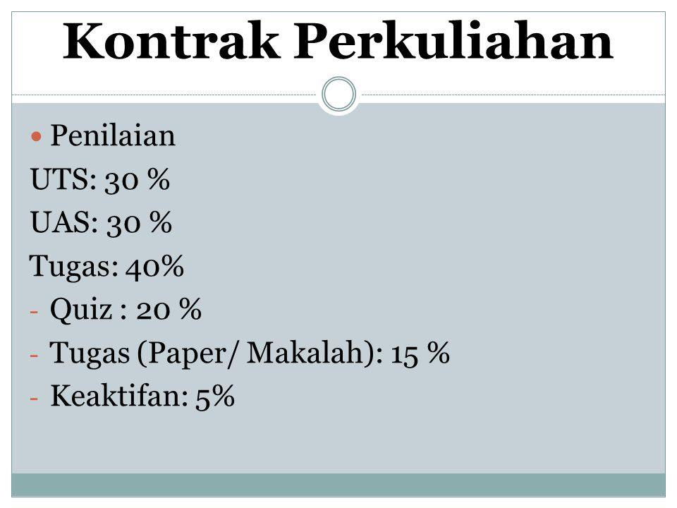 Kontrak Perkuliahan Penilaian UTS: 30 % UAS: 30 % Tugas: 40%