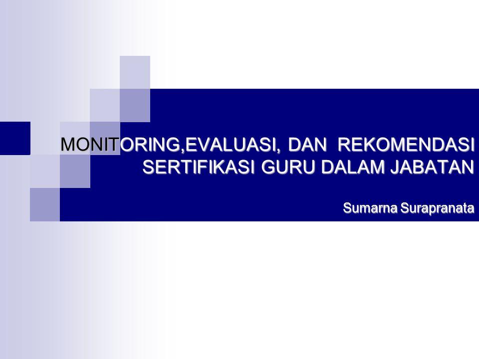 MONITORING,EVALUASI, DAN REKOMENDASI SERTIFIKASI GURU DALAM JABATAN Sumarna Surapranata