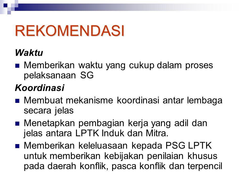 REKOMENDASI Waktu. Memberikan waktu yang cukup dalam proses pelaksanaan SG. Koordinasi. Membuat mekanisme koordinasi antar lembaga secara jelas.
