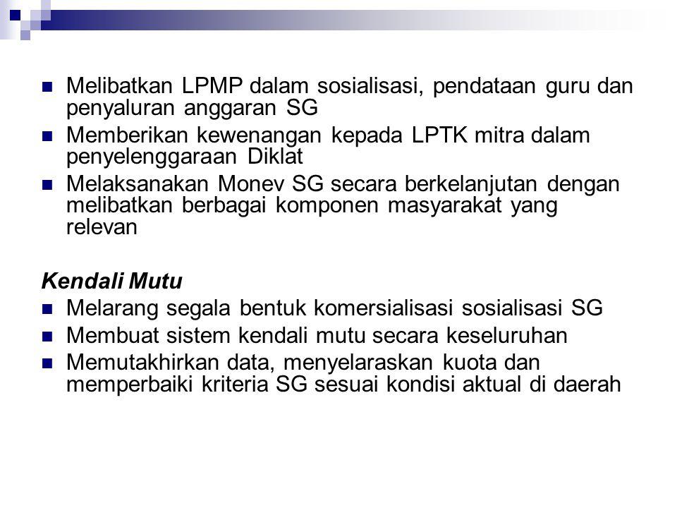 Memberikan kewenangan kepada LPTK mitra dalam penyelenggaraan Diklat