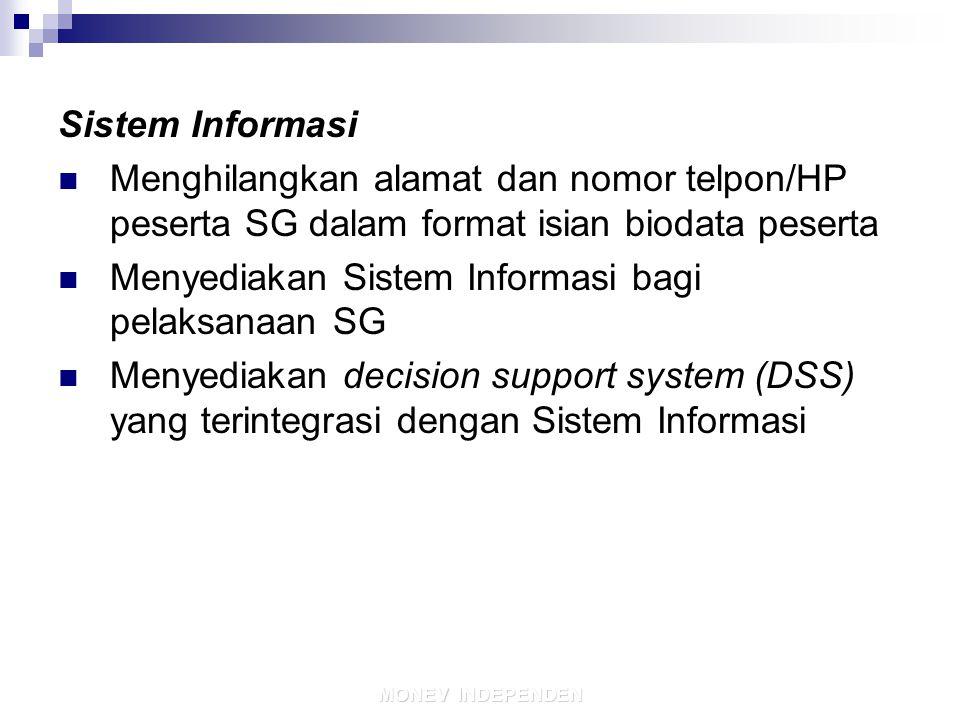 Menyediakan Sistem Informasi bagi pelaksanaan SG
