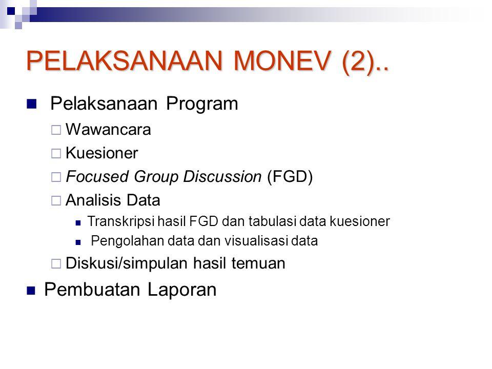PELAKSANAAN MONEV (2).. Pelaksanaan Program Pembuatan Laporan
