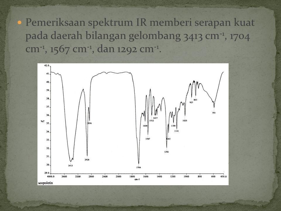 Pemeriksaan spektrum IR memberi serapan kuat pada daerah bilangan gelombang 3413 cm-1, 1704 cm-1, 1567 cm-1, dan 1292 cm-1.