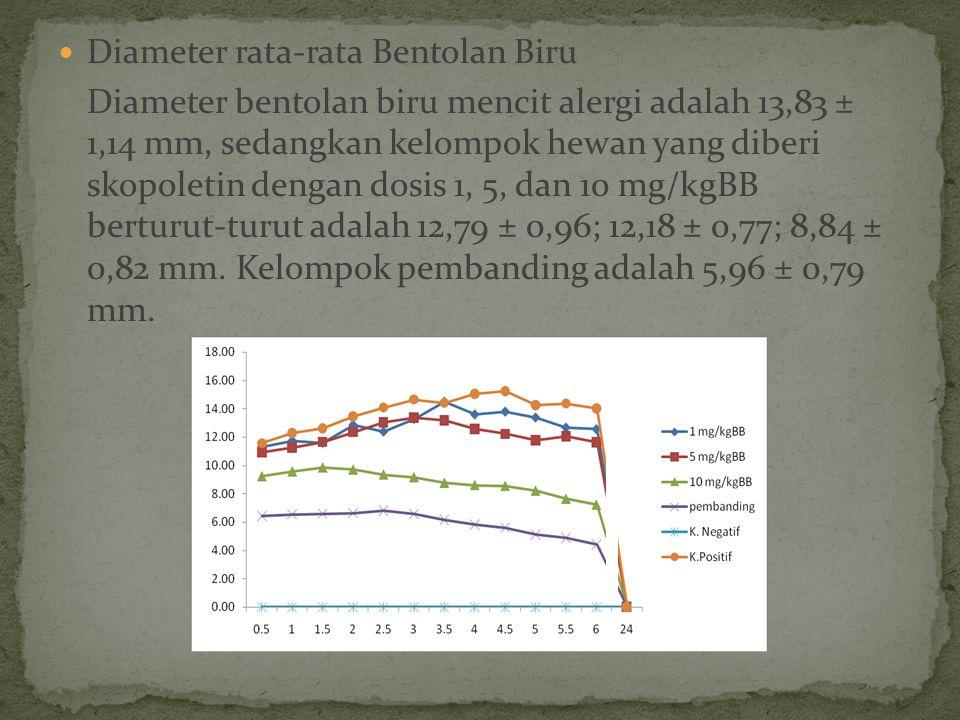 Diameter rata-rata Bentolan Biru