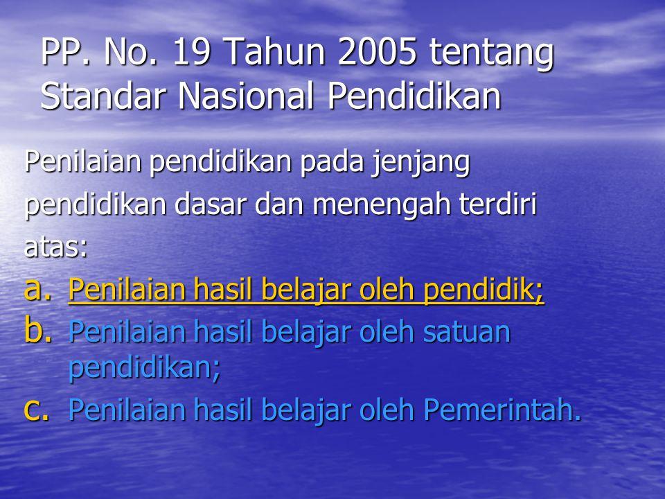 PP. No. 19 Tahun 2005 tentang Standar Nasional Pendidikan