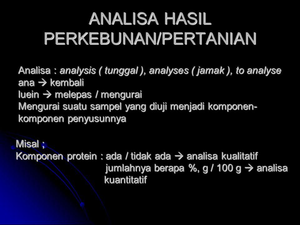 ANALISA HASIL PERKEBUNAN/PERTANIAN