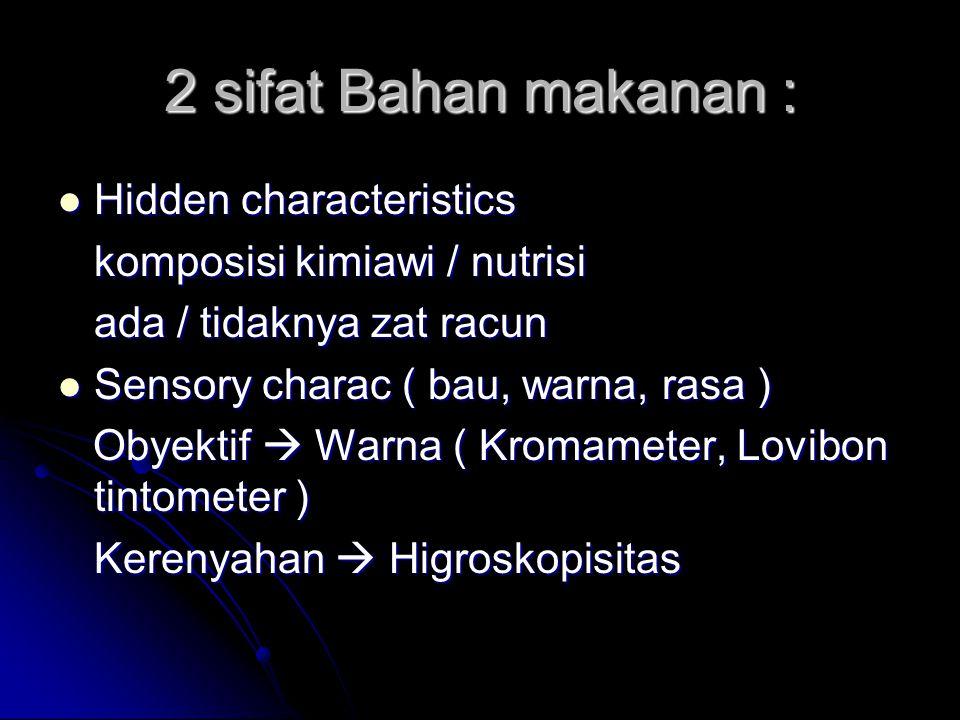 2 sifat Bahan makanan : Hidden characteristics
