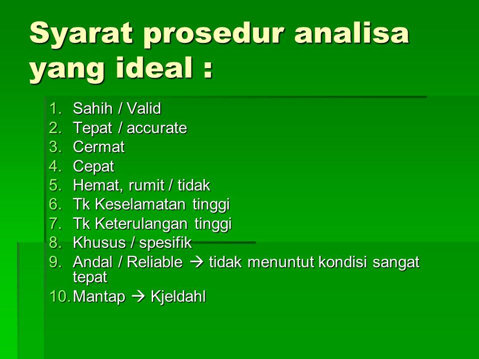 Syarat prosedur analisa yang ideal :