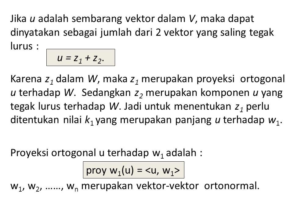 Jika u adalah sembarang vektor dalam V, maka dapat dinyatakan sebagai jumlah dari 2 vektor yang saling tegak lurus :