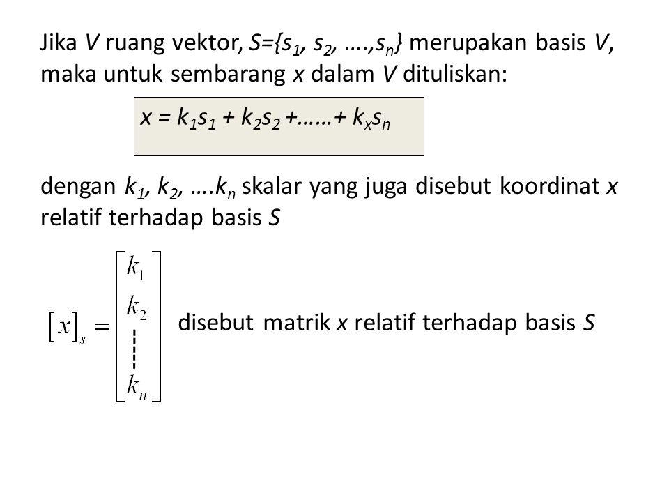 Jika V ruang vektor, S={s1, s2, …