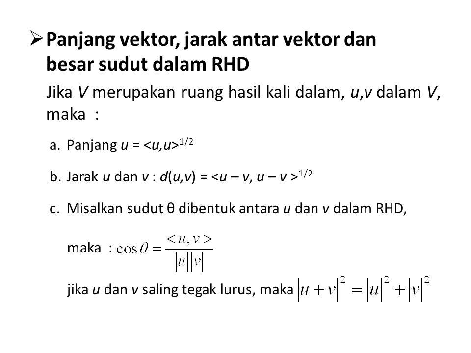 Panjang vektor, jarak antar vektor dan besar sudut dalam RHD