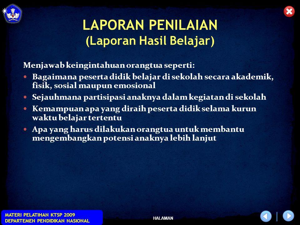 LAPORAN PENILAIAN (Laporan Hasil Belajar)