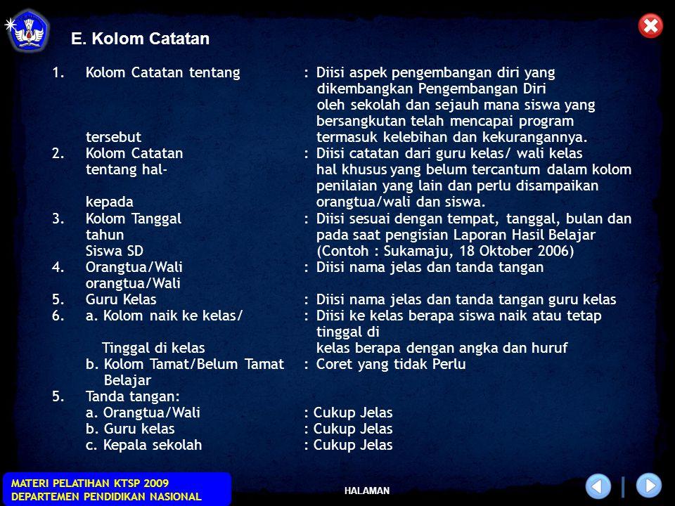 E. Kolom Catatan