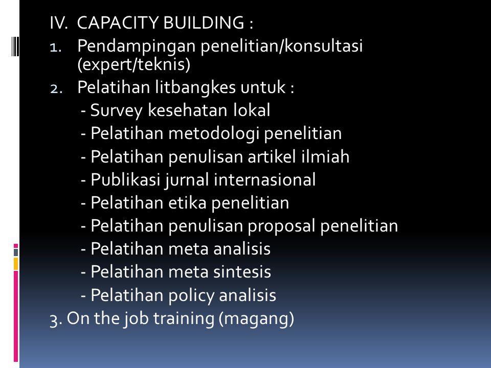 IV. CAPACITY BUILDING : Pendampingan penelitian/konsultasi (expert/teknis) Pelatihan litbangkes untuk :