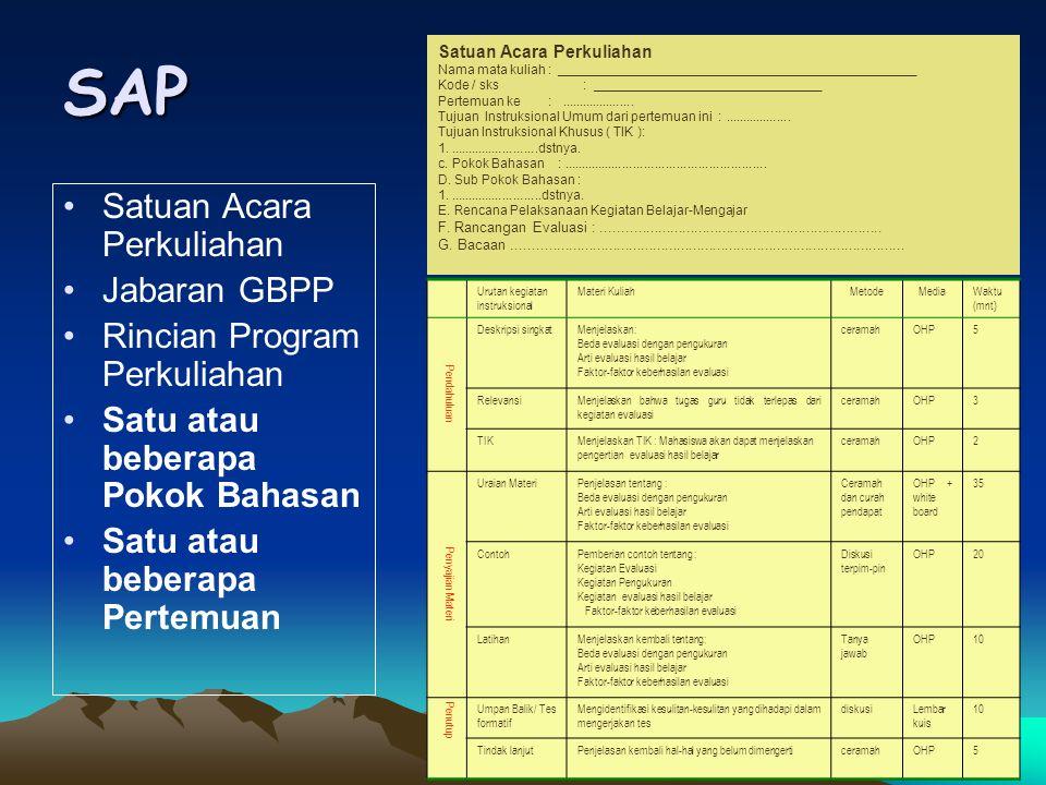 SAP Satuan Acara Perkuliahan Jabaran GBPP Rincian Program Perkuliahan