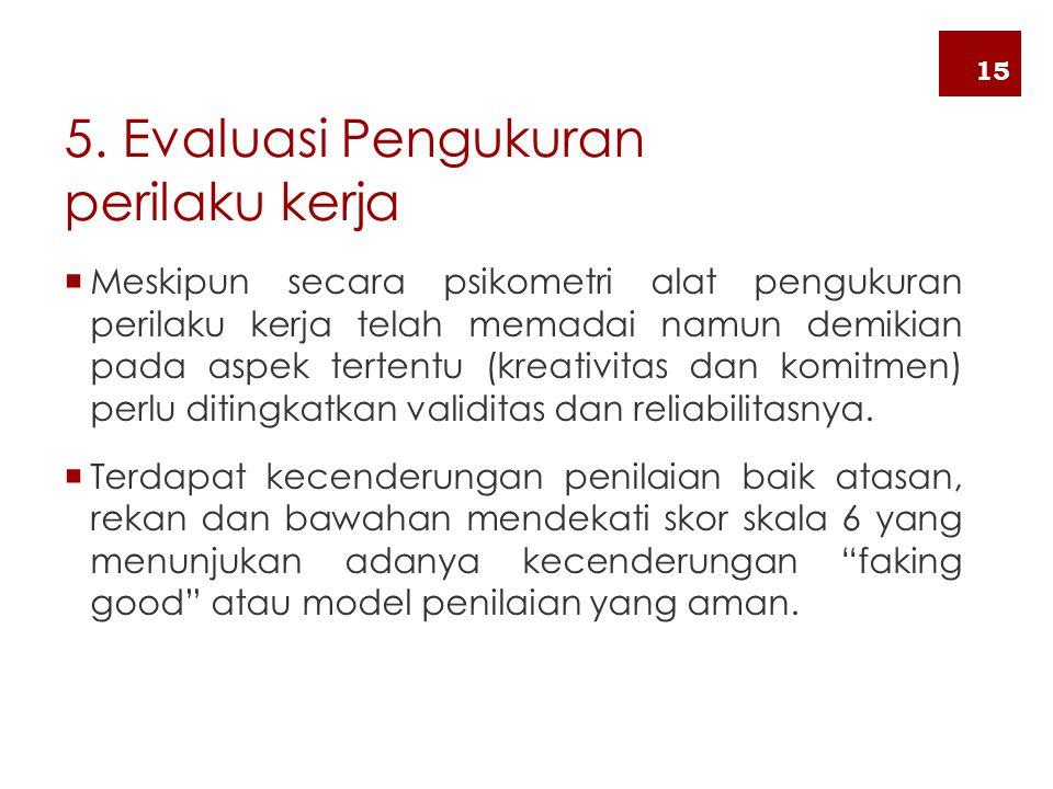 5. Evaluasi Pengukuran perilaku kerja