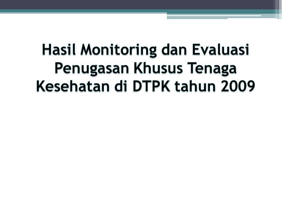 Hasil Monitoring dan Evaluasi Penugasan Khusus Tenaga Kesehatan di DTPK tahun 2009