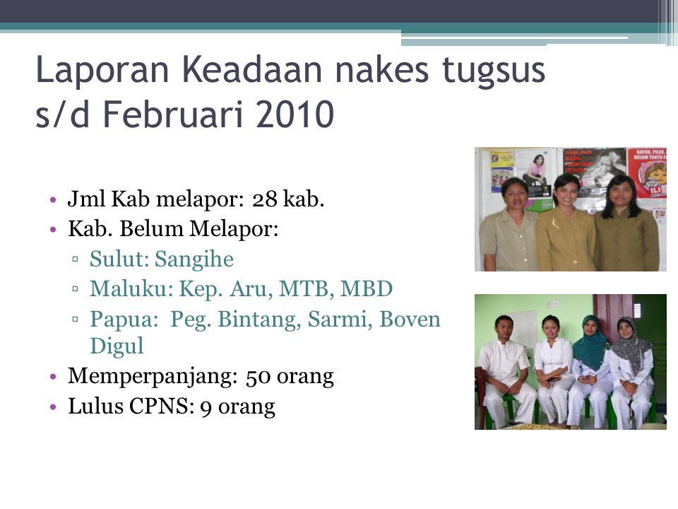 Laporan Keadaan nakes tugsus s/d Februari 2010