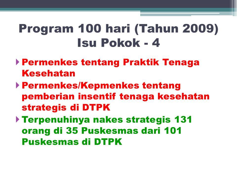 Program 100 hari (Tahun 2009) Isu Pokok - 4