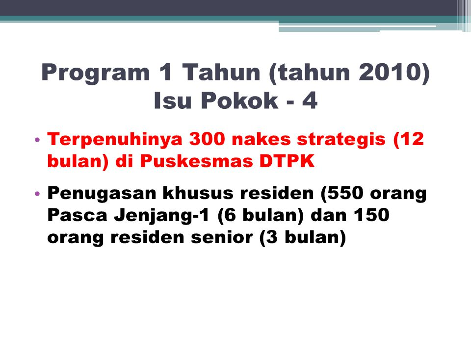 Program 1 Tahun (tahun 2010) Isu Pokok - 4