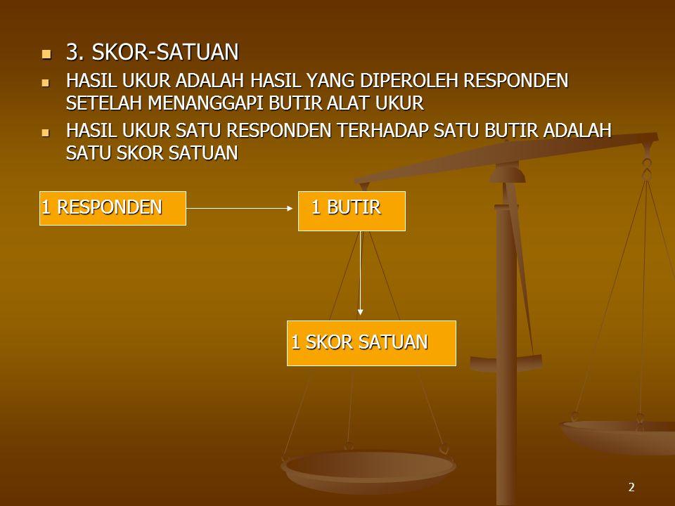 3. SKOR-SATUAN HASIL UKUR ADALAH HASIL YANG DIPEROLEH RESPONDEN SETELAH MENANGGAPI BUTIR ALAT UKUR.